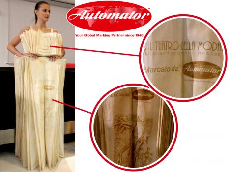 Fashion week marcatura laser su abito sfilate