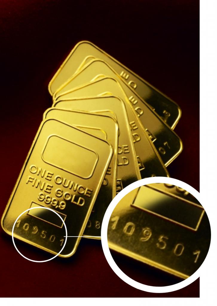 tecnica di marcatura a battuta per lingottini d'oro